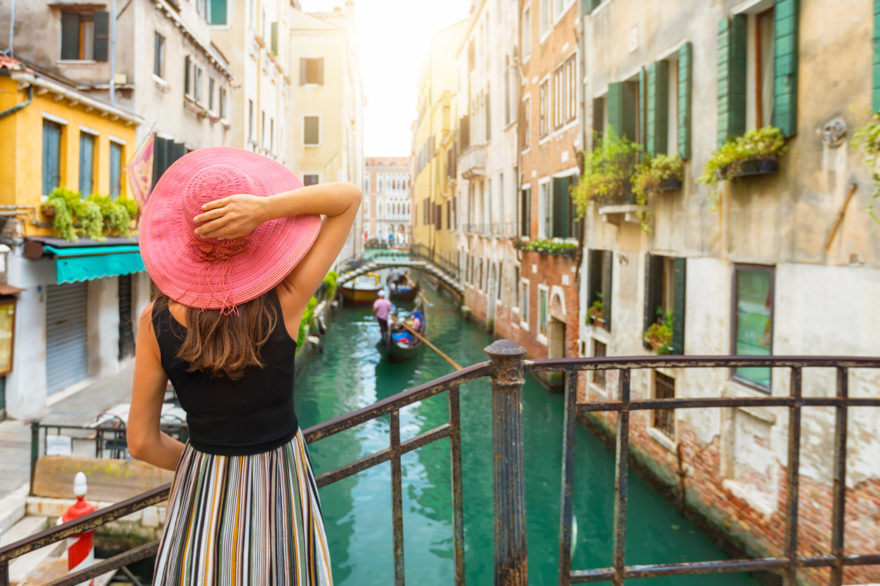 woman in Pink hat in Fourence Italy